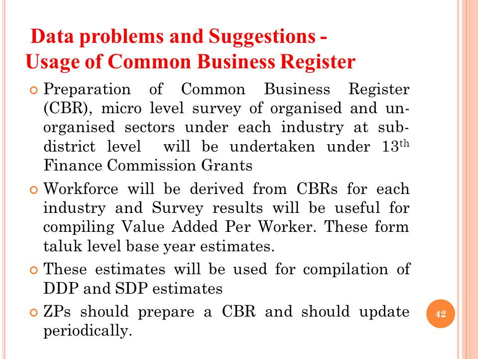 Data problems and Suggestions - Usage of Common Business Register