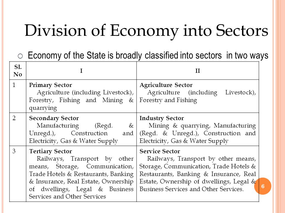 Division of Economy into Sectors