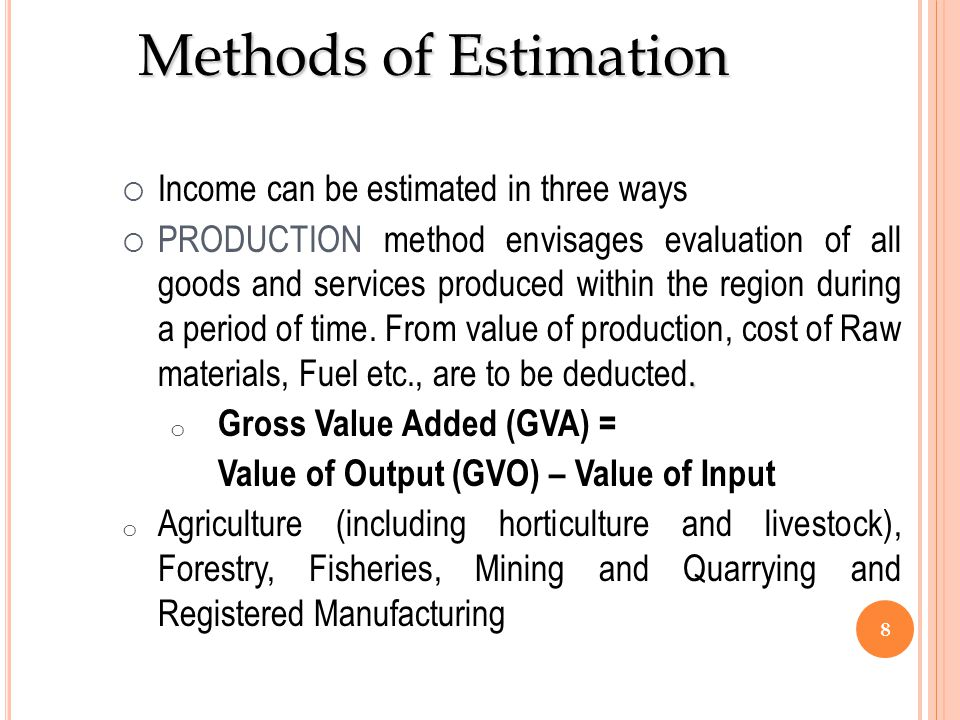Methods of Estimation Income can be estimated in three ways