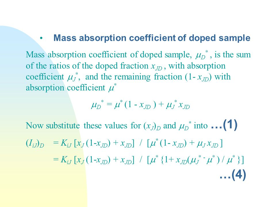 …(4) Mass absorption coefficient of doped sample
