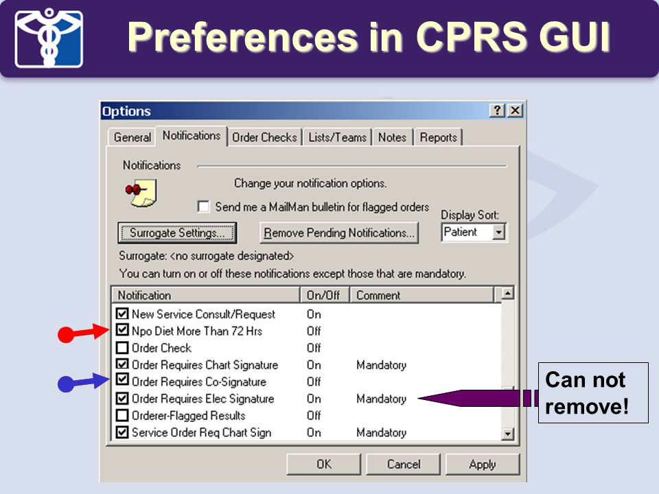 Preferences in CPRS GUI