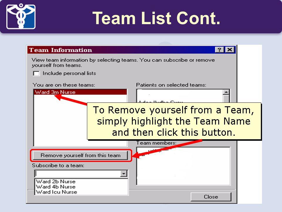 Team List Cont.