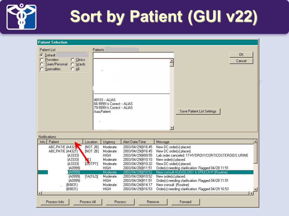 Sort by Patient (GUI v22)