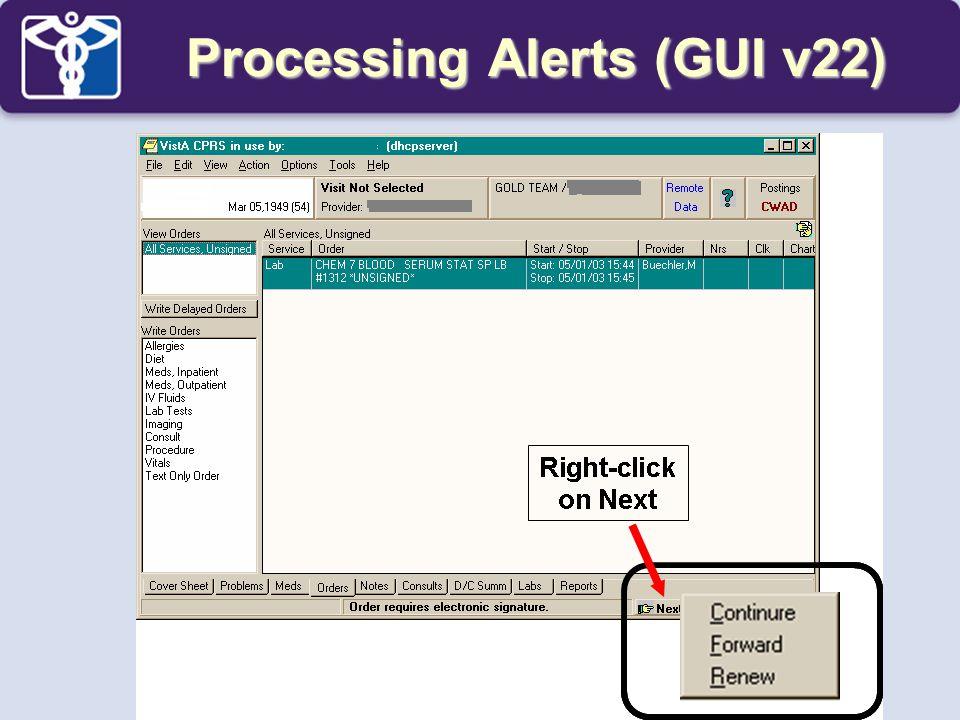 Processing Alerts (GUI v22)
