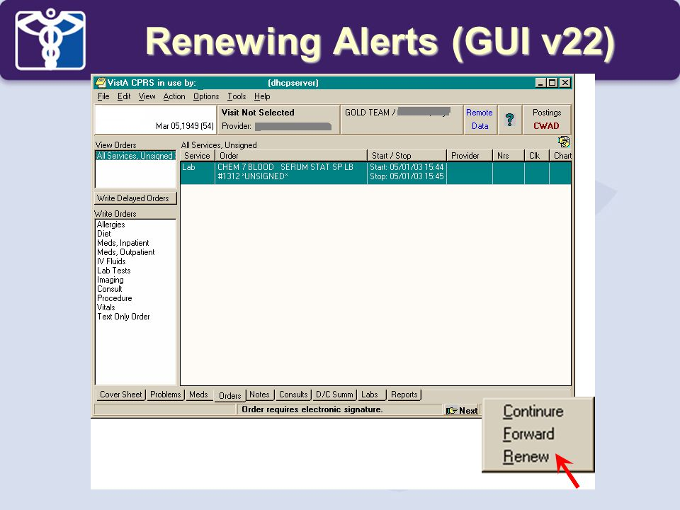 Renewing Alerts (GUI v22)