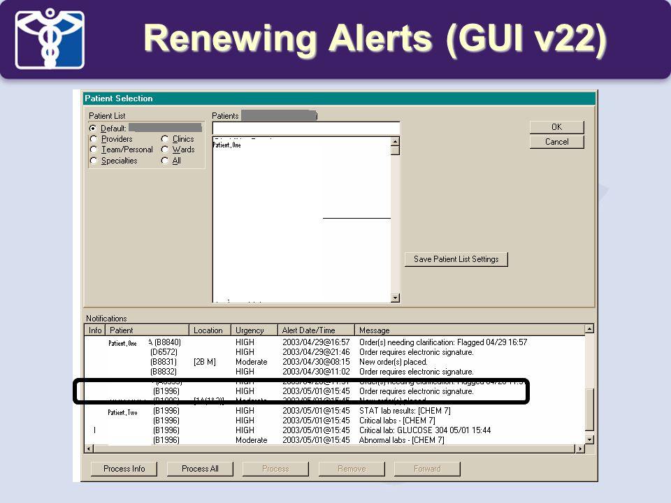 Renewing Alerts (GUI v22)