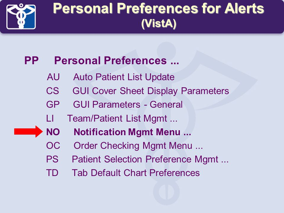 Personal Preferences for Alerts (VistA)