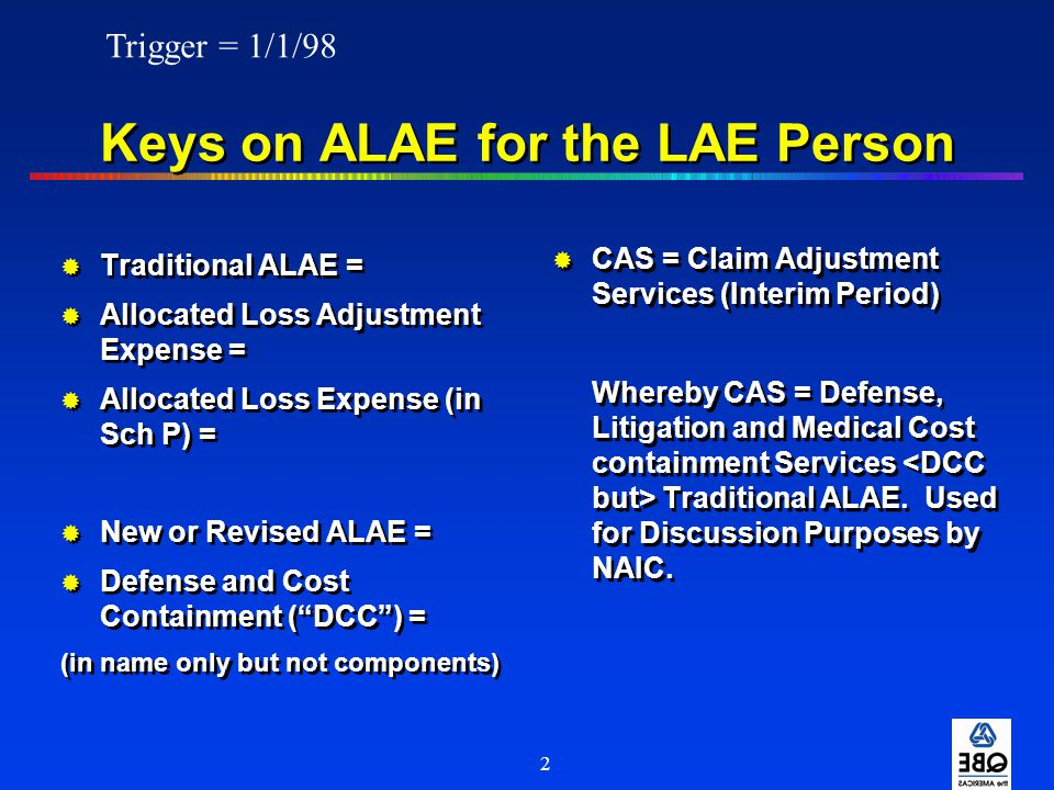 Keys on ALAE for the LAE Person