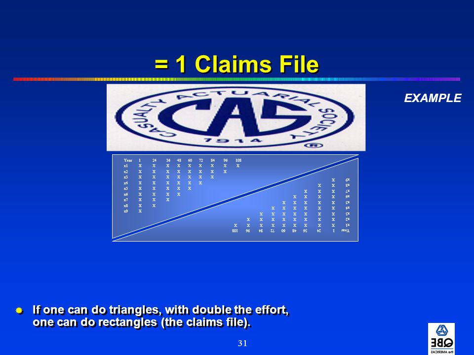 = 1 Claims File EXAMPLE. Year 1 24 36 48 60 72 84 96 108.