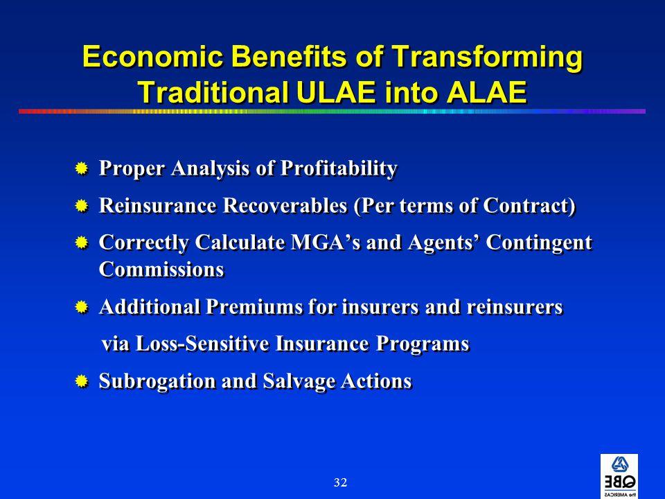Economic Benefits of Transforming Traditional ULAE into ALAE