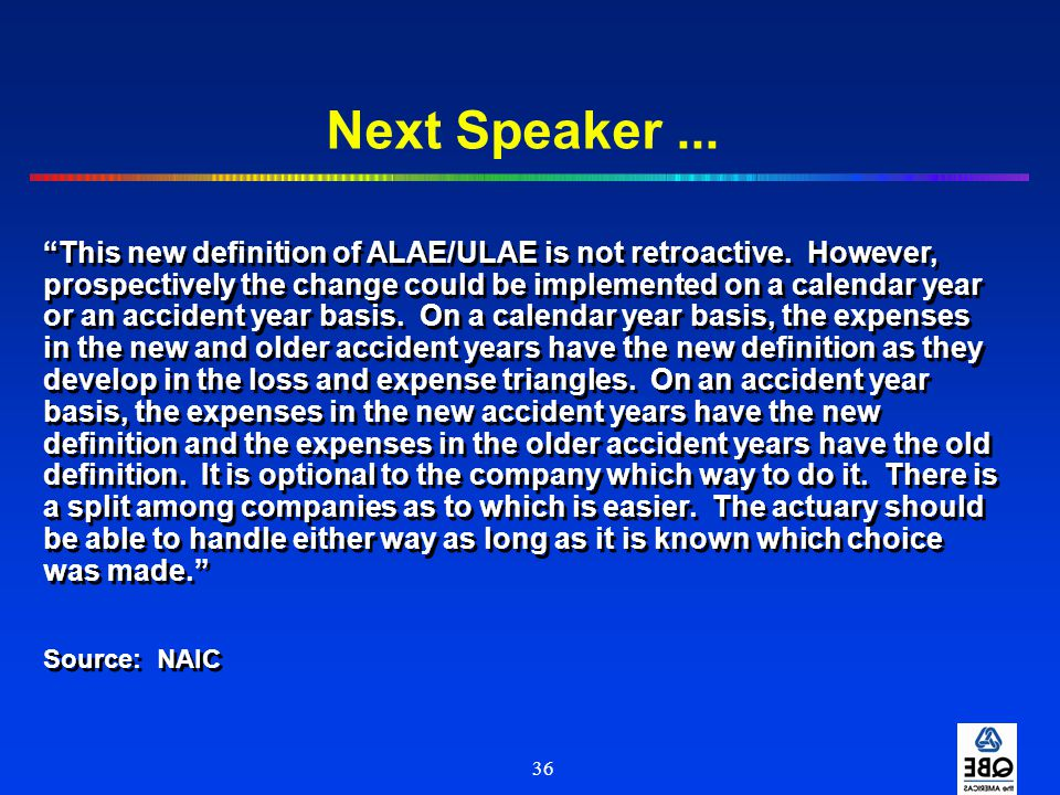 Next Speaker ...