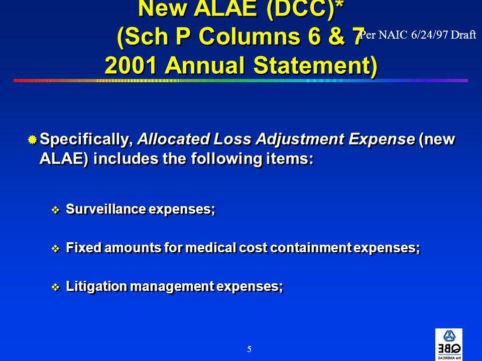 New ALAE (DCC)* (Sch P Columns 6 & 7 2001 Annual Statement)