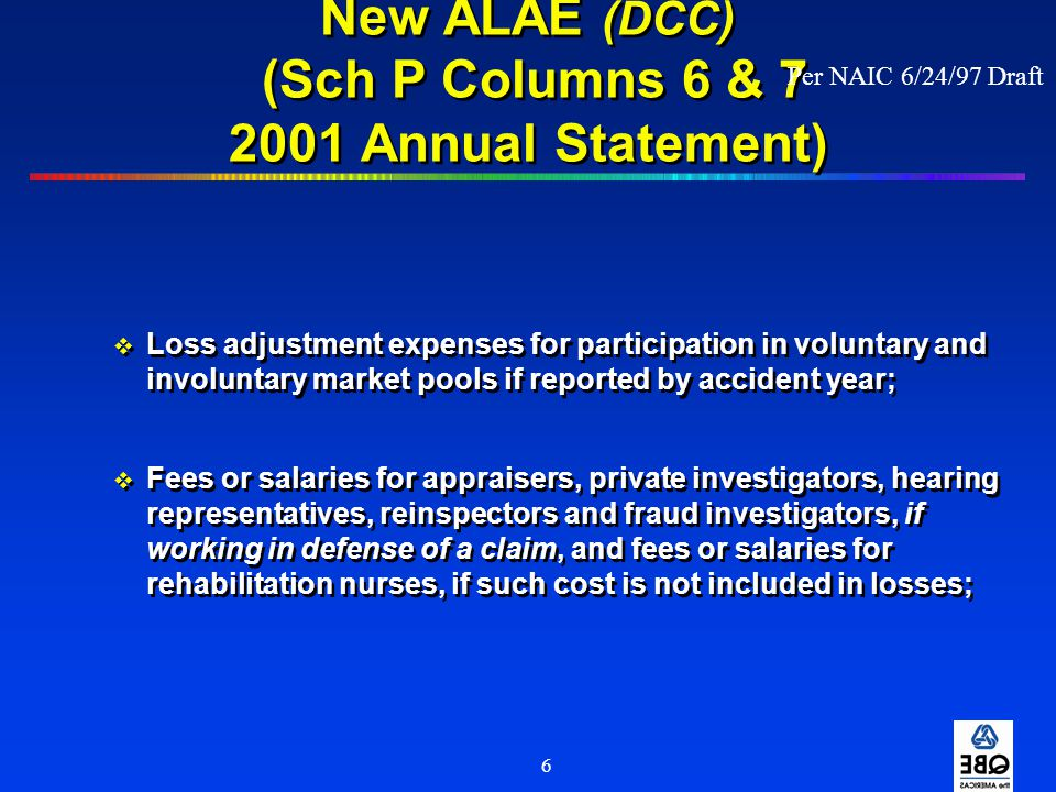New ALAE (DCC) (Sch P Columns 6 & 7 2001 Annual Statement)