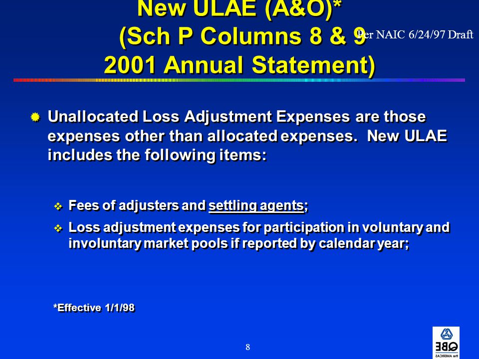 New ULAE (A&O)* (Sch P Columns 8 & 9 2001 Annual Statement)