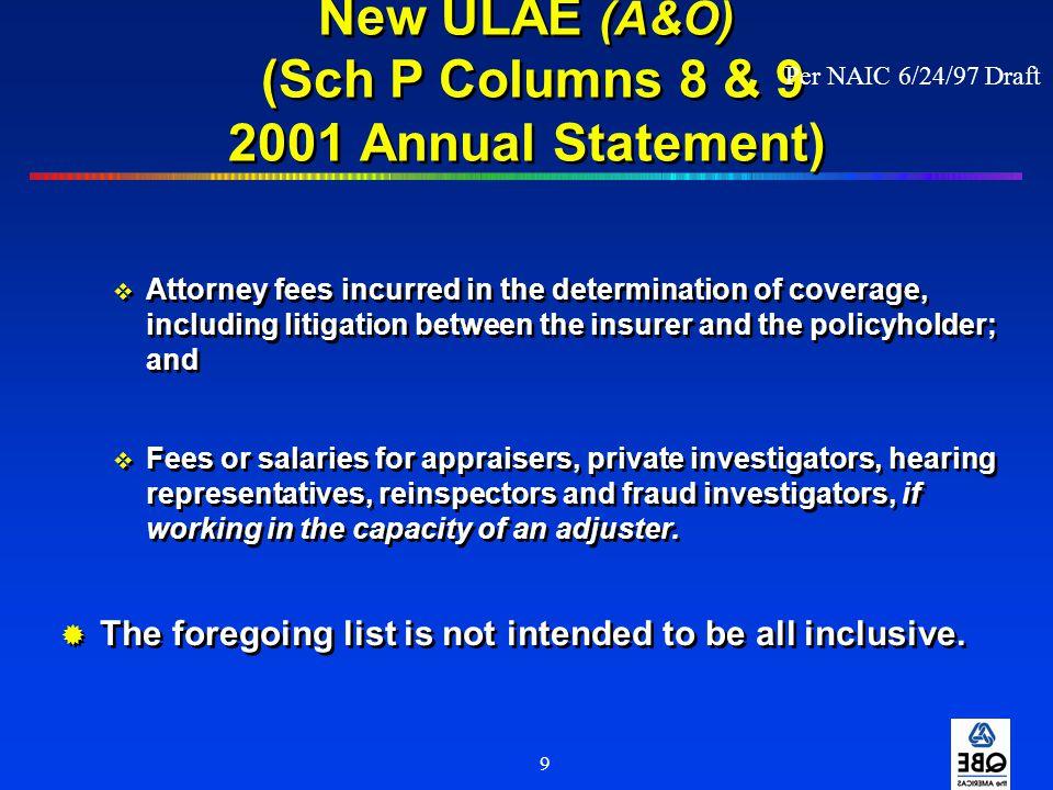 New ULAE (A&O) (Sch P Columns 8 & 9 2001 Annual Statement)