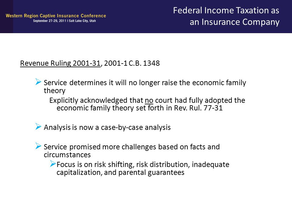 Federal Income Taxation as an Insurance Company