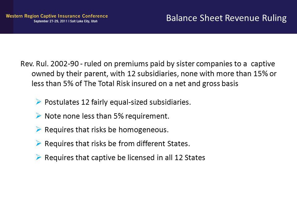 Balance Sheet Revenue Ruling