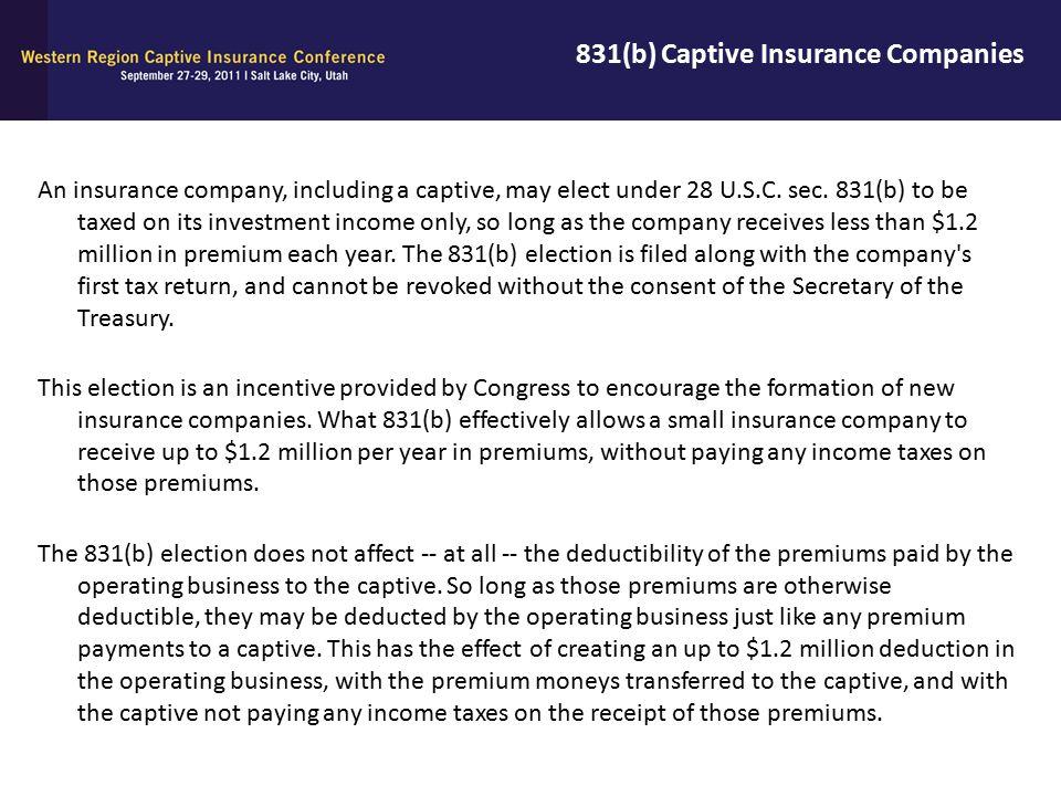 831(b) Captive Insurance Companies
