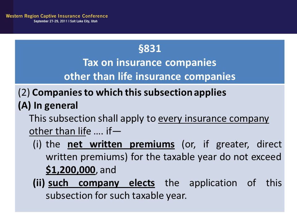Tax on insurance companies other than life insurance companies