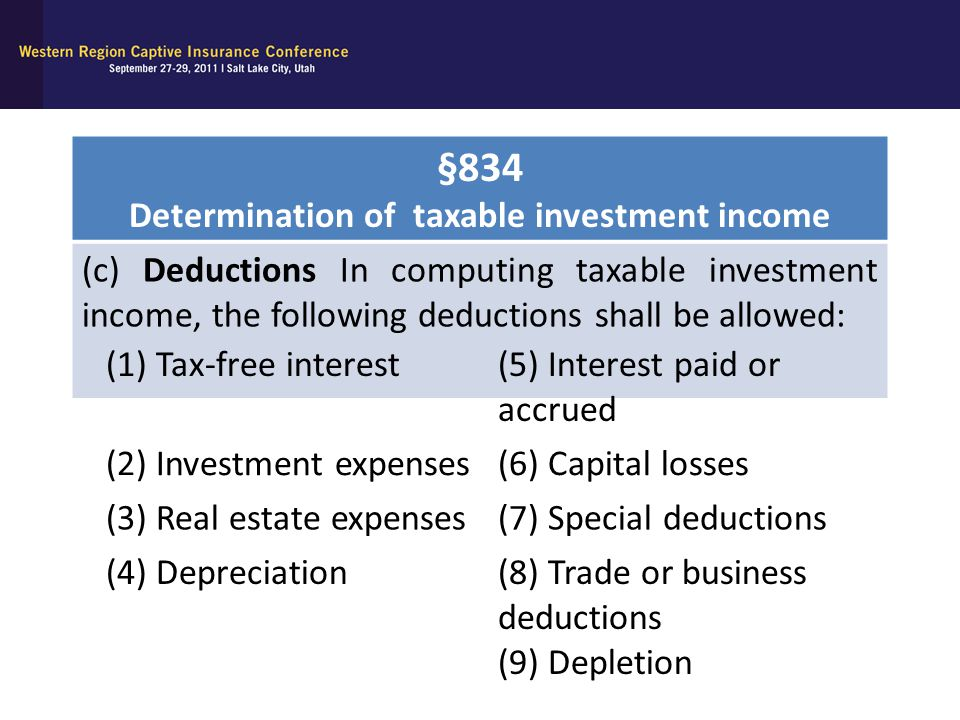 Determination of taxable investment income