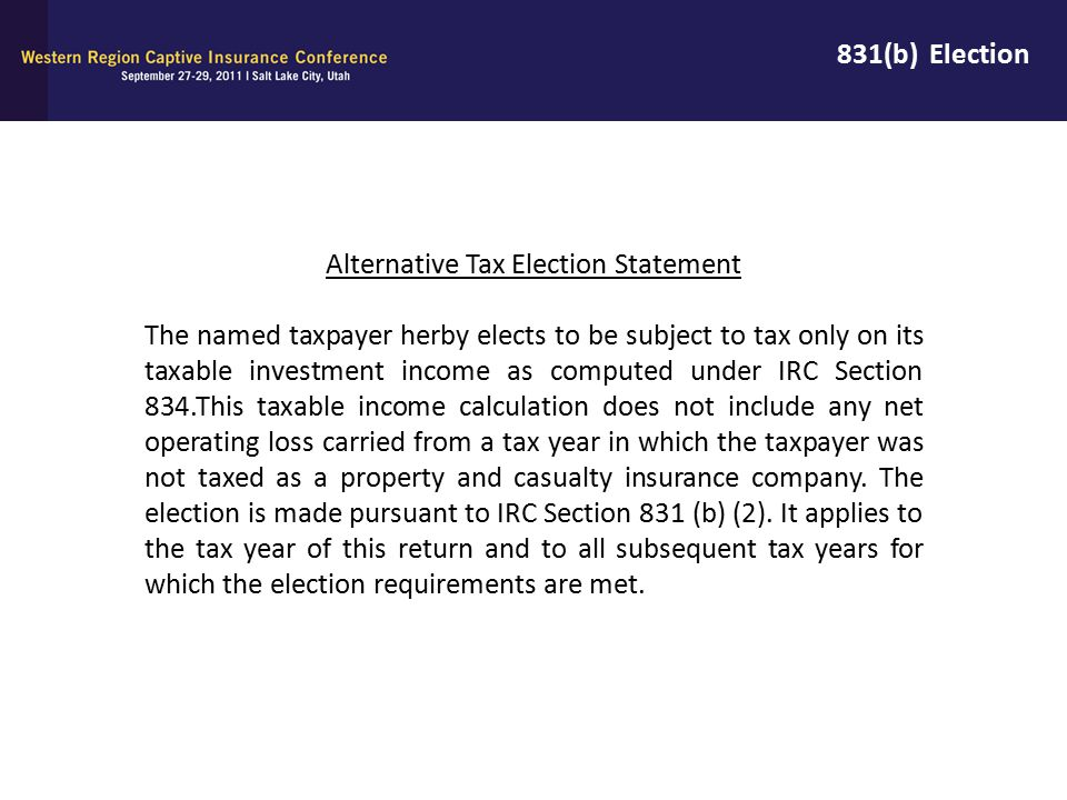 Alternative Tax Election Statement