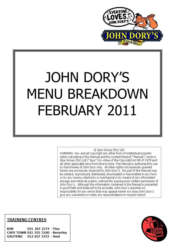 JOHN DORY'S MENU BREAKDOWN FEBRUARY 2011