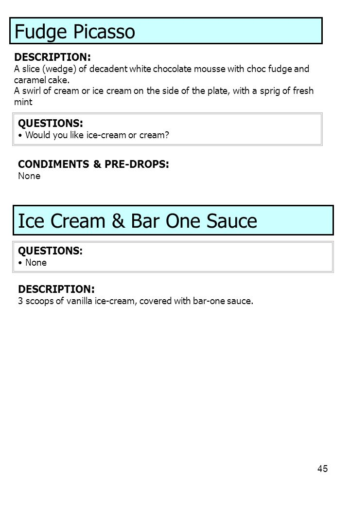 Ice Cream & Bar One Sauce