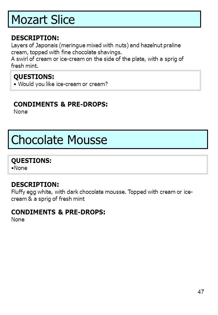 Mozart Slice Chocolate Mousse DESCRIPTION: QUESTIONS: