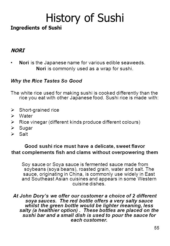History of Sushi Ingredients of Sushi NORI