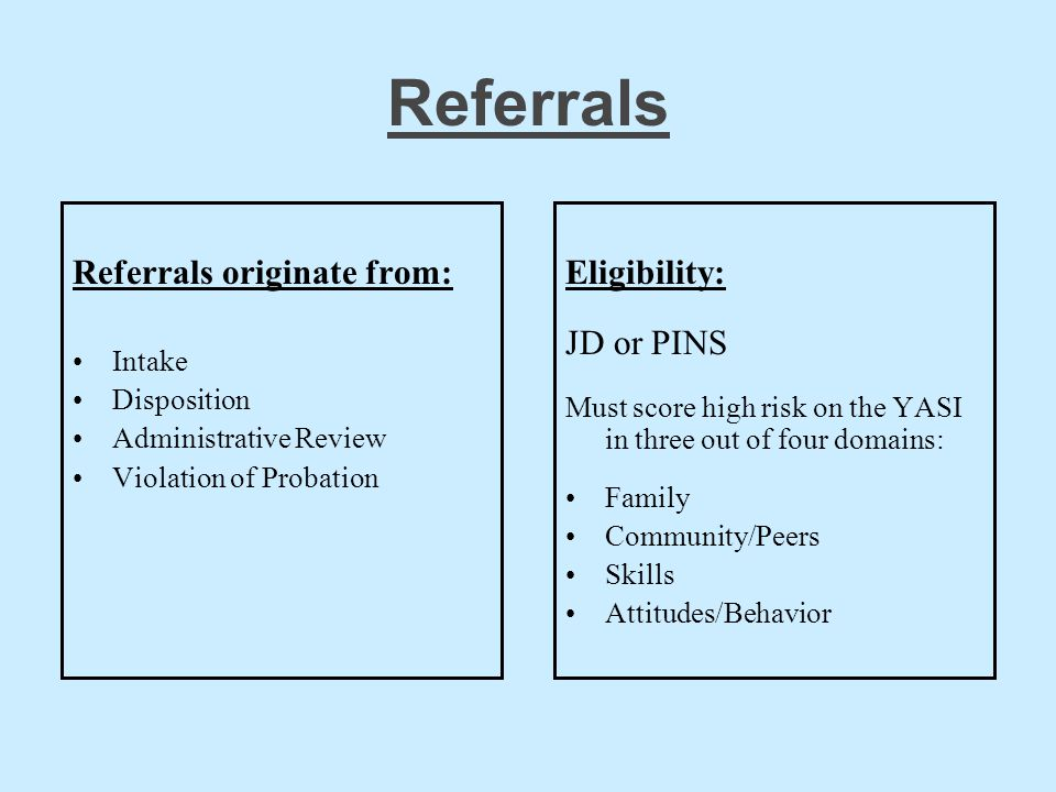 Referrals Referrals originate from: Eligibility: JD or PINS Intake