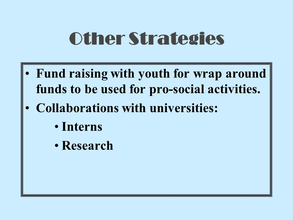 Other Strategies Fund raising with youth for wrap around funds to be used for pro-social activities.