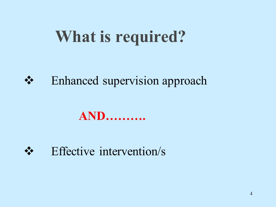 What is required Enhanced supervision approach AND……….