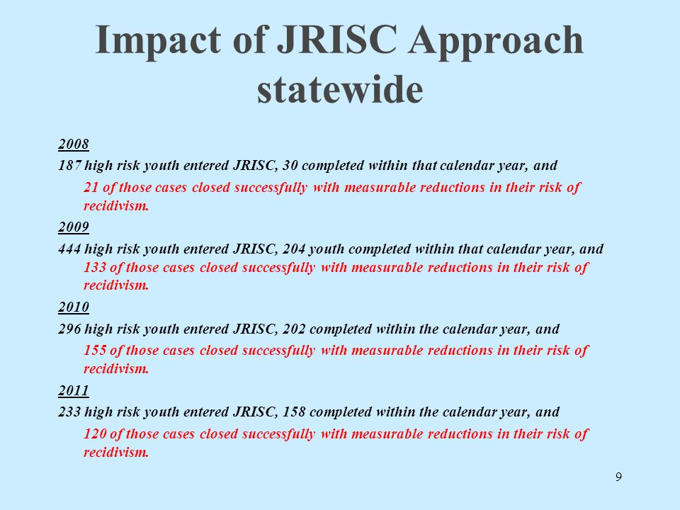 Impact of JRISC Approach statewide