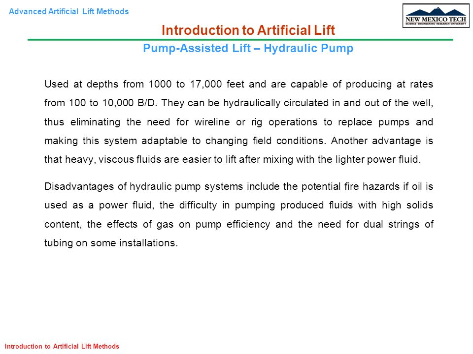 Introduction to Artificial Lift Pump-Assisted Lift – Hydraulic Pump