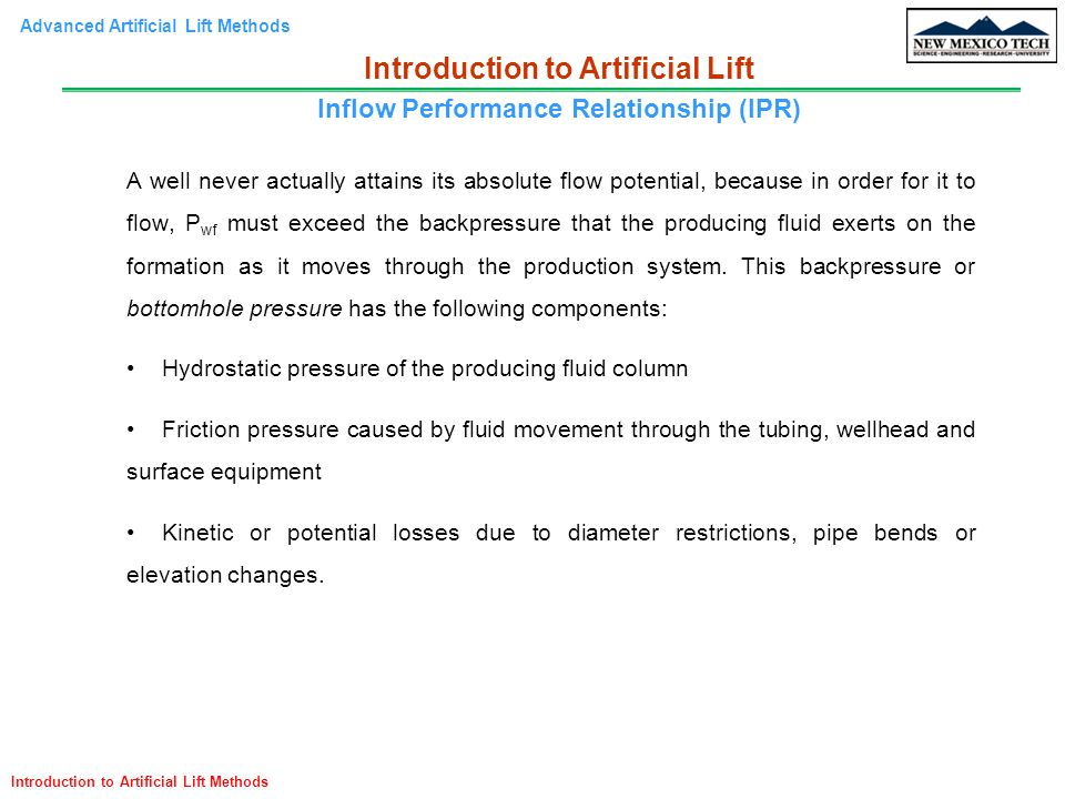 Introduction to Artificial Lift Inflow Performance Relationship (IPR)