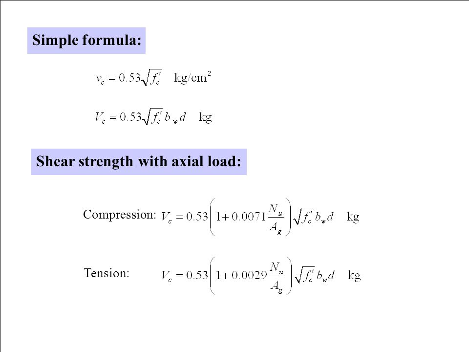 Shear strength with axial load: