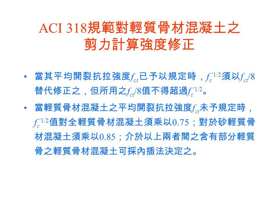 ACI 318規範對輕質骨材混凝土之 剪力計算強度修正