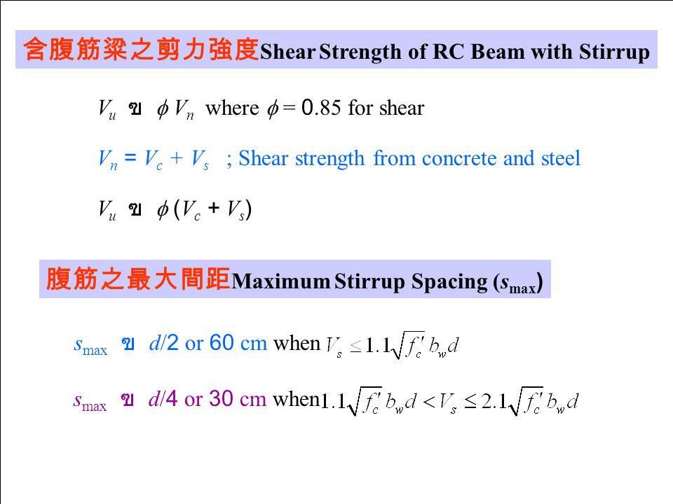 含腹筋粱之剪力強度Shear Strength of RC Beam with Stirrup