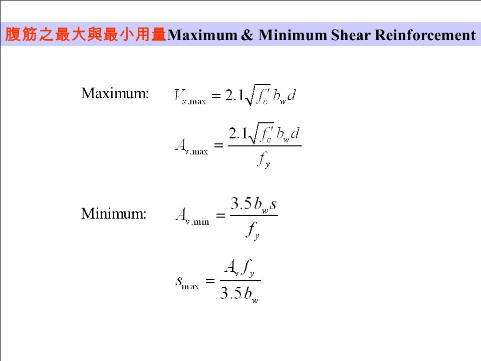 腹筋之最大與最小用量Maximum & Minimum Shear Reinforcement