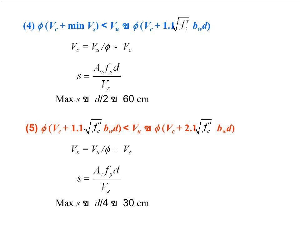 (4) f (Vc + min Vs) < Vu ฃ f (Vc + 1.1 bwd)