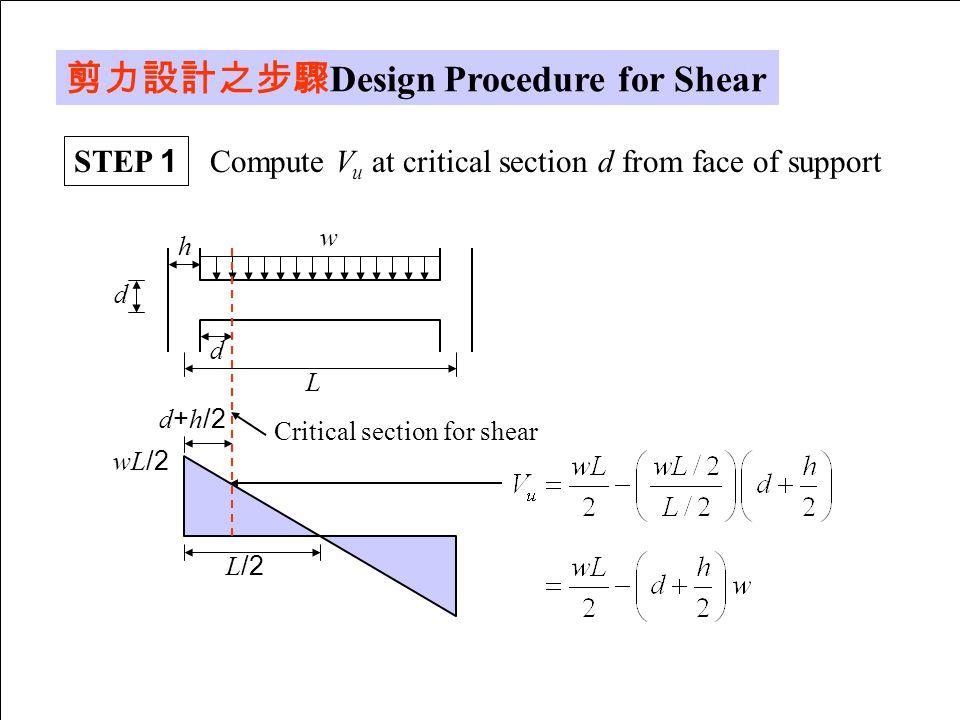 剪力設計之步驟Design Procedure for Shear