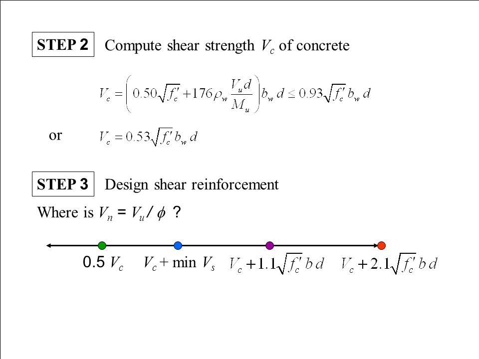 STEP 2 Compute shear strength Vc of concrete. or. STEP 3. Design shear reinforcement. Where is Vn = Vu / f