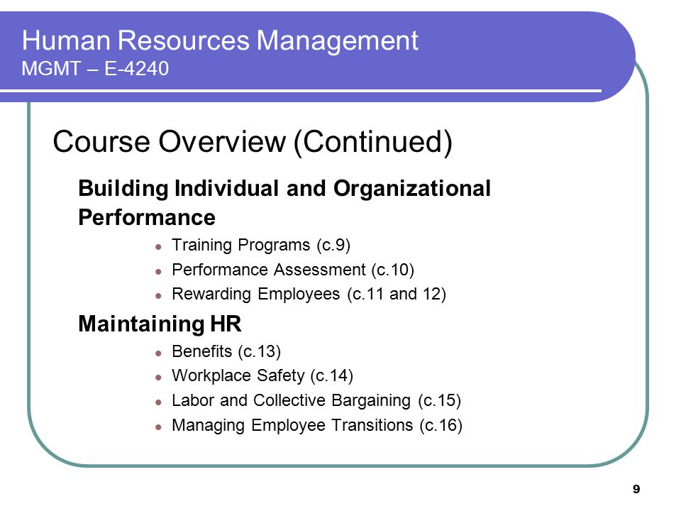 Human Resources Management MGMT – E-4240