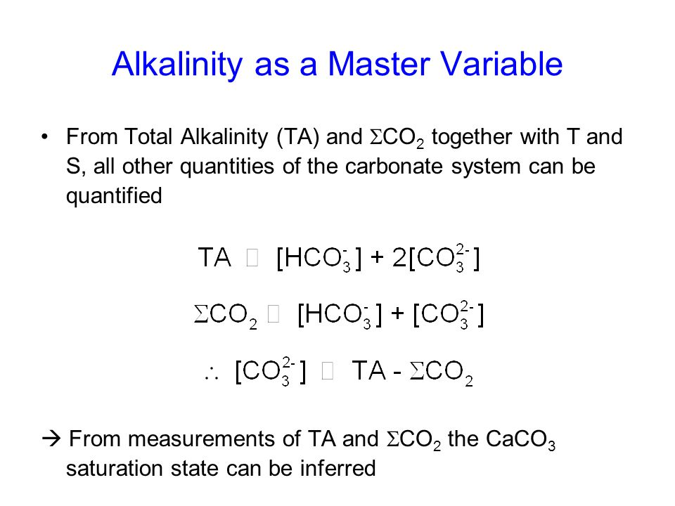 Alkalinity as a Master Variable