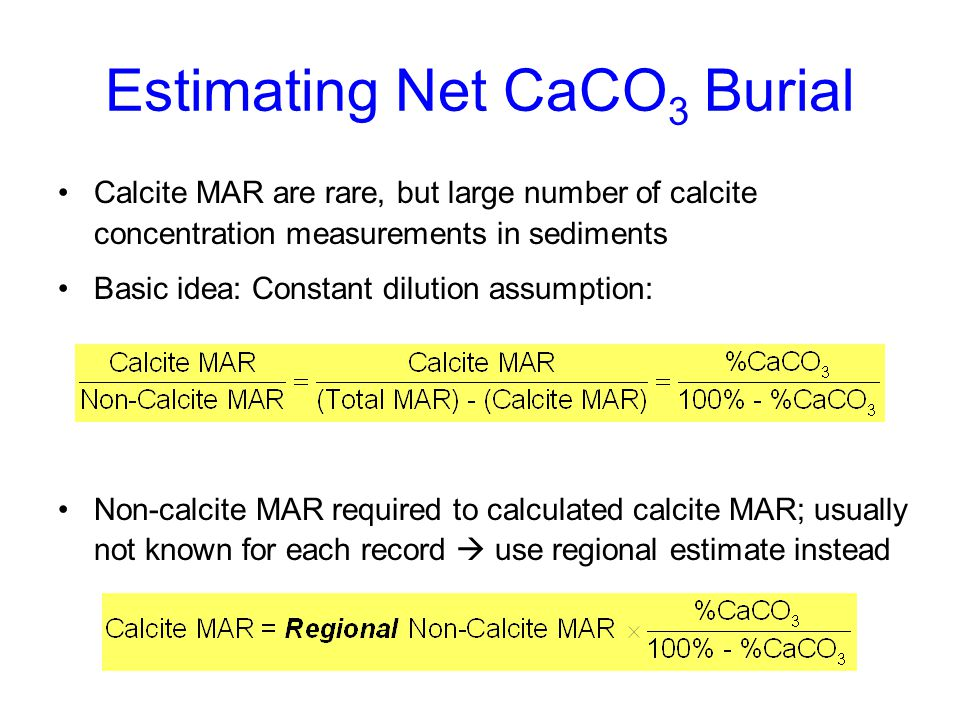 Estimating Net CaCO3 Burial