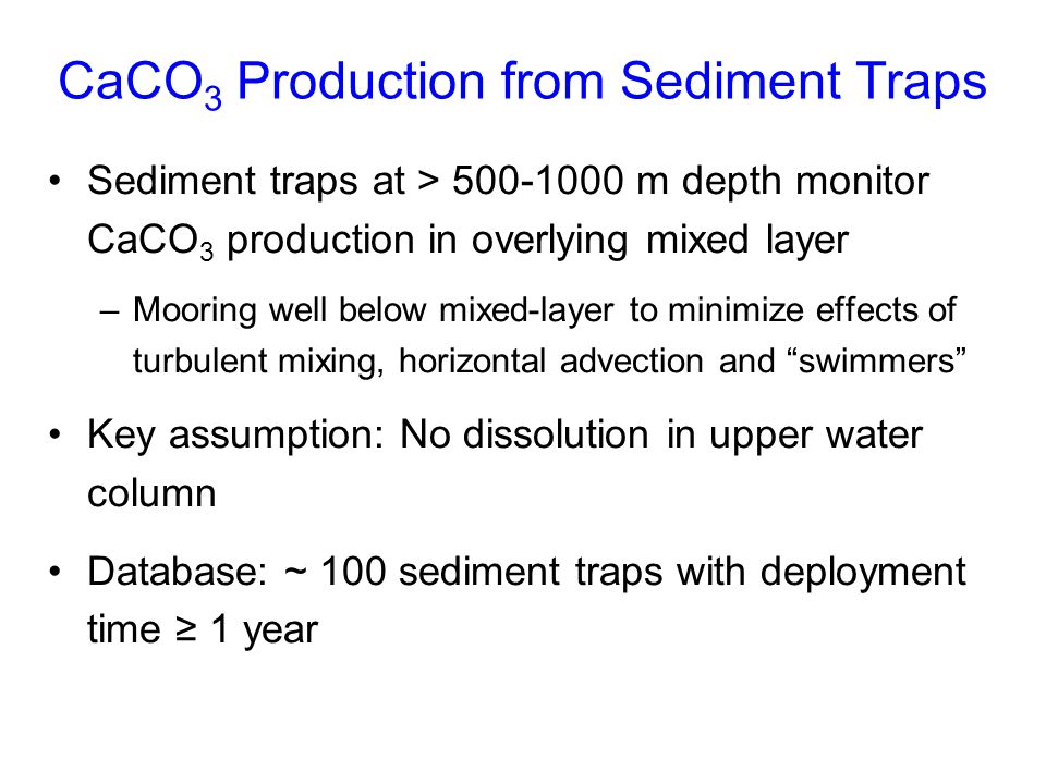 CaCO3 Production from Sediment Traps