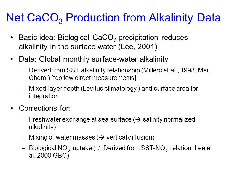 Net CaCO3 Production from Alkalinity Data