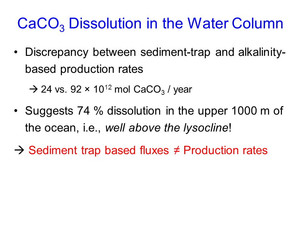 CaCO3 Dissolution in the Water Column