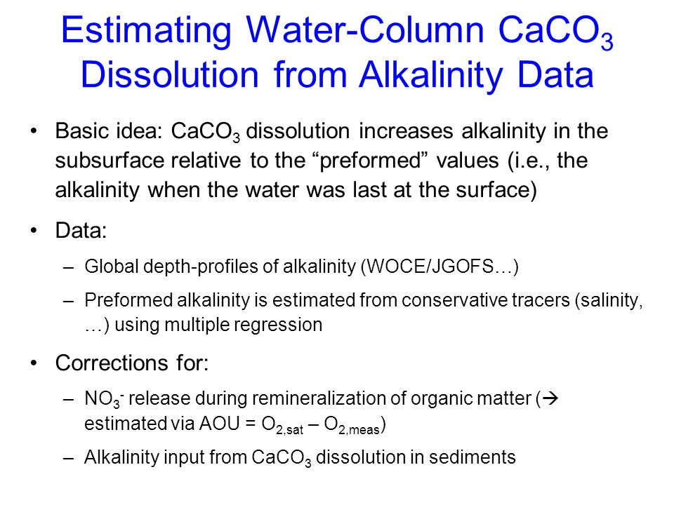 Estimating Water-Column CaCO3 Dissolution from Alkalinity Data