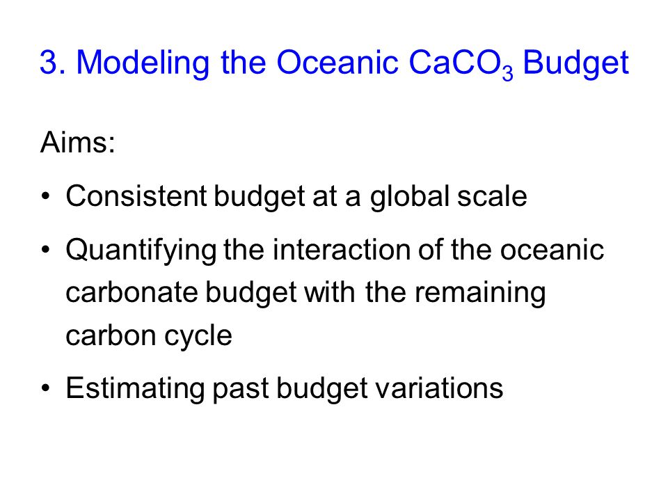 3. Modeling the Oceanic CaCO3 Budget